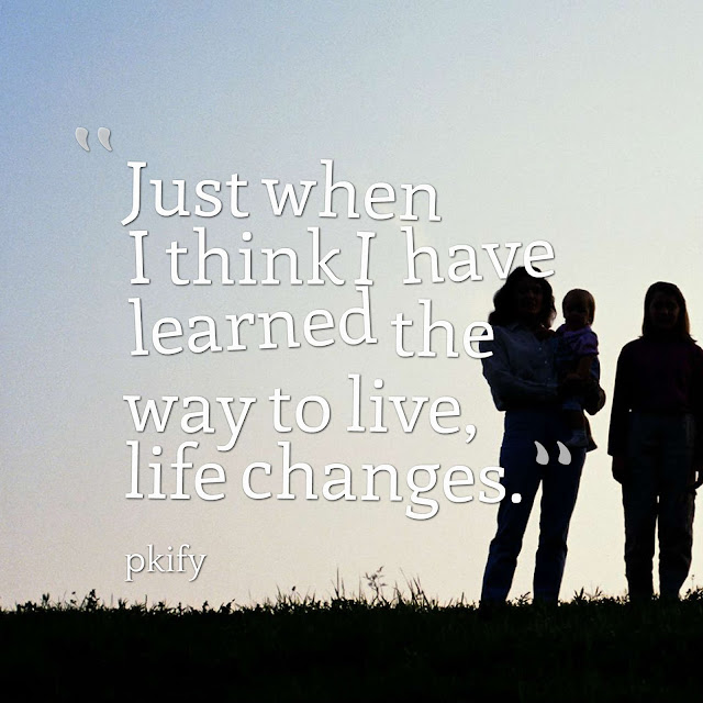 Just When I Think I Have Learned the Way to Live Life Changes Life Quotes