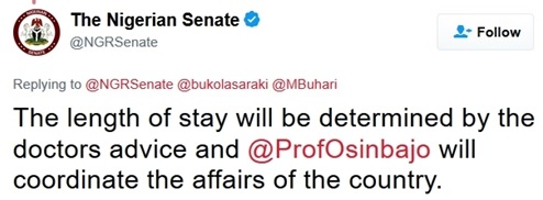 Medical Trip: Senate Receives Buhari's Letter...Here's the Contents of the President's Letter