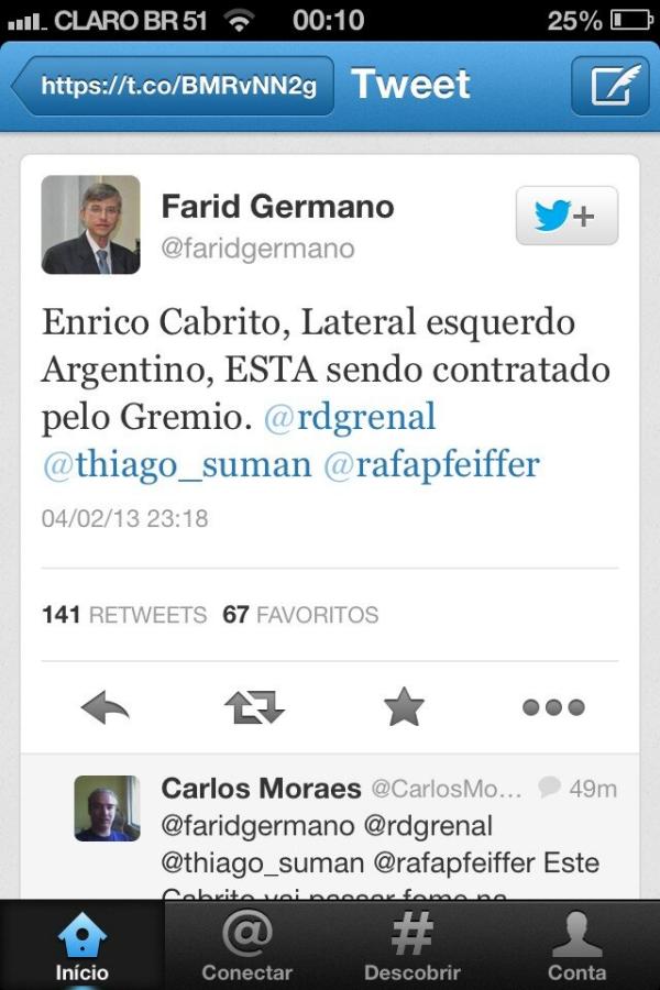 Tweet de um jornalista conhecido aqui do RS