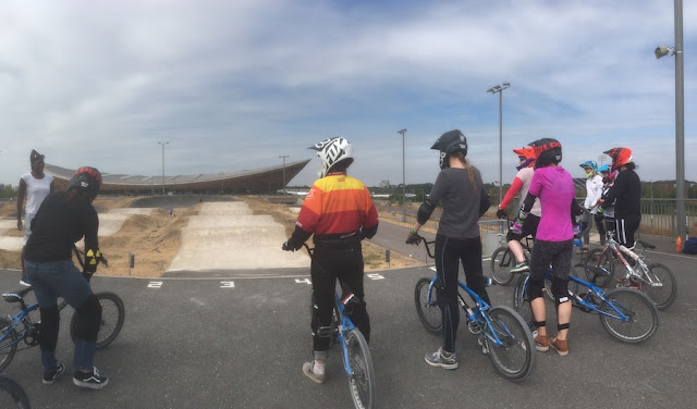 FitBits | BMXercise at Lee Valley VeloPark top of the starting ramp - Tess Agnew fitness blogger