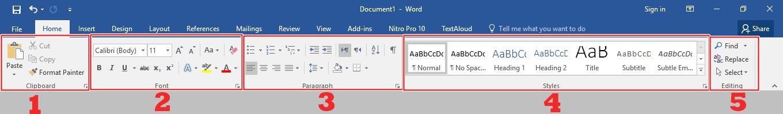 Menu Bar Home Microsoft Word
