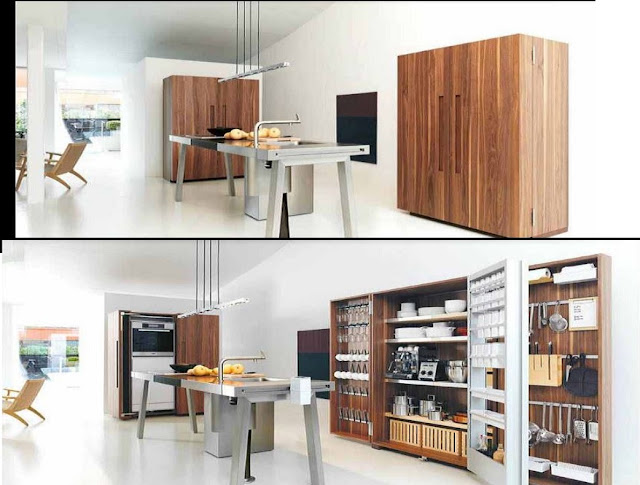 smart hidden kitchen with many storage shelves