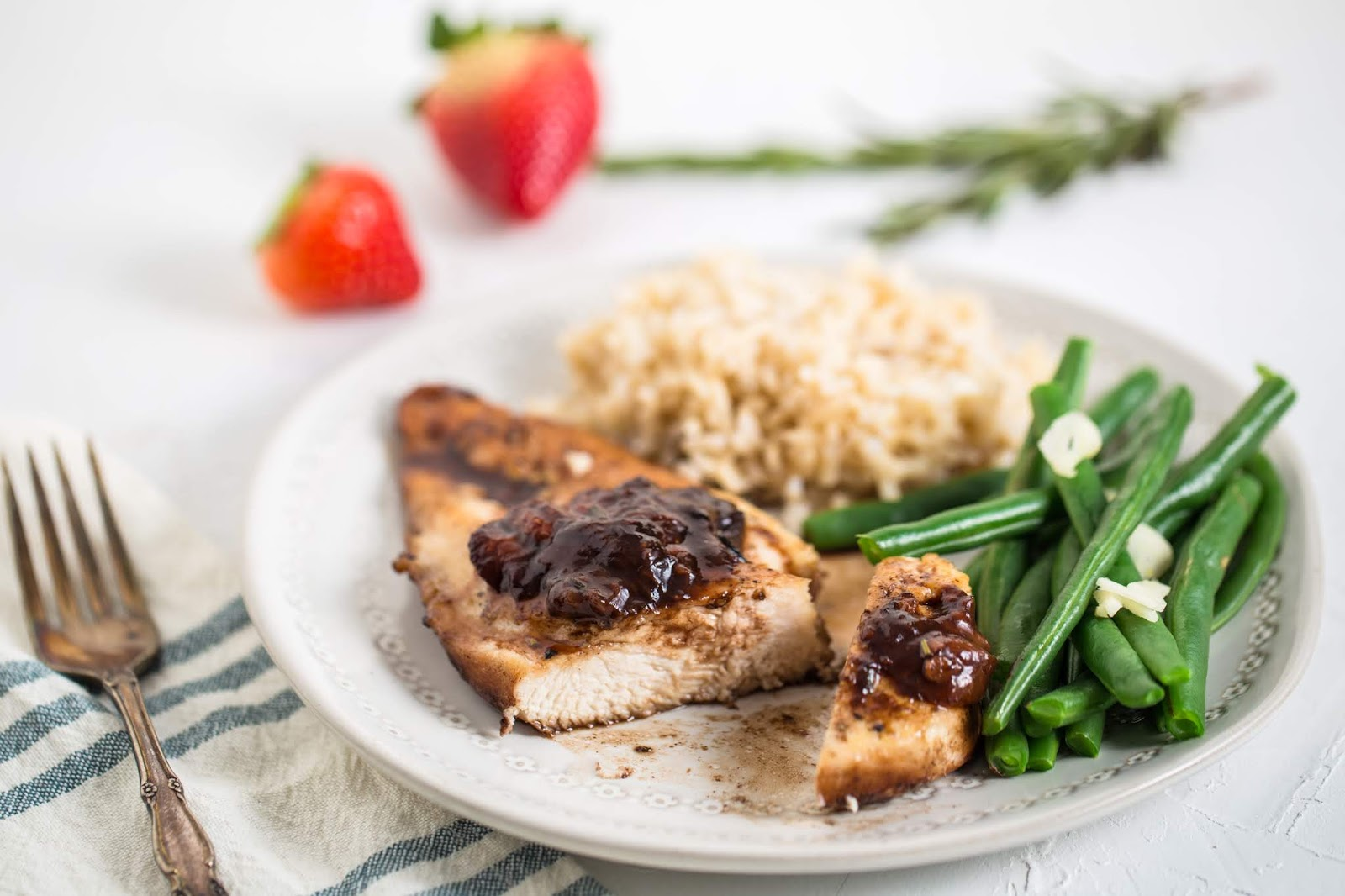Chicken with Strawberry-Balsamic Sauce is the perfect blending of sweet and savory. It's simple enough for a family meal, yet elegant enough to serve guests. Oh, and that sauce is life!