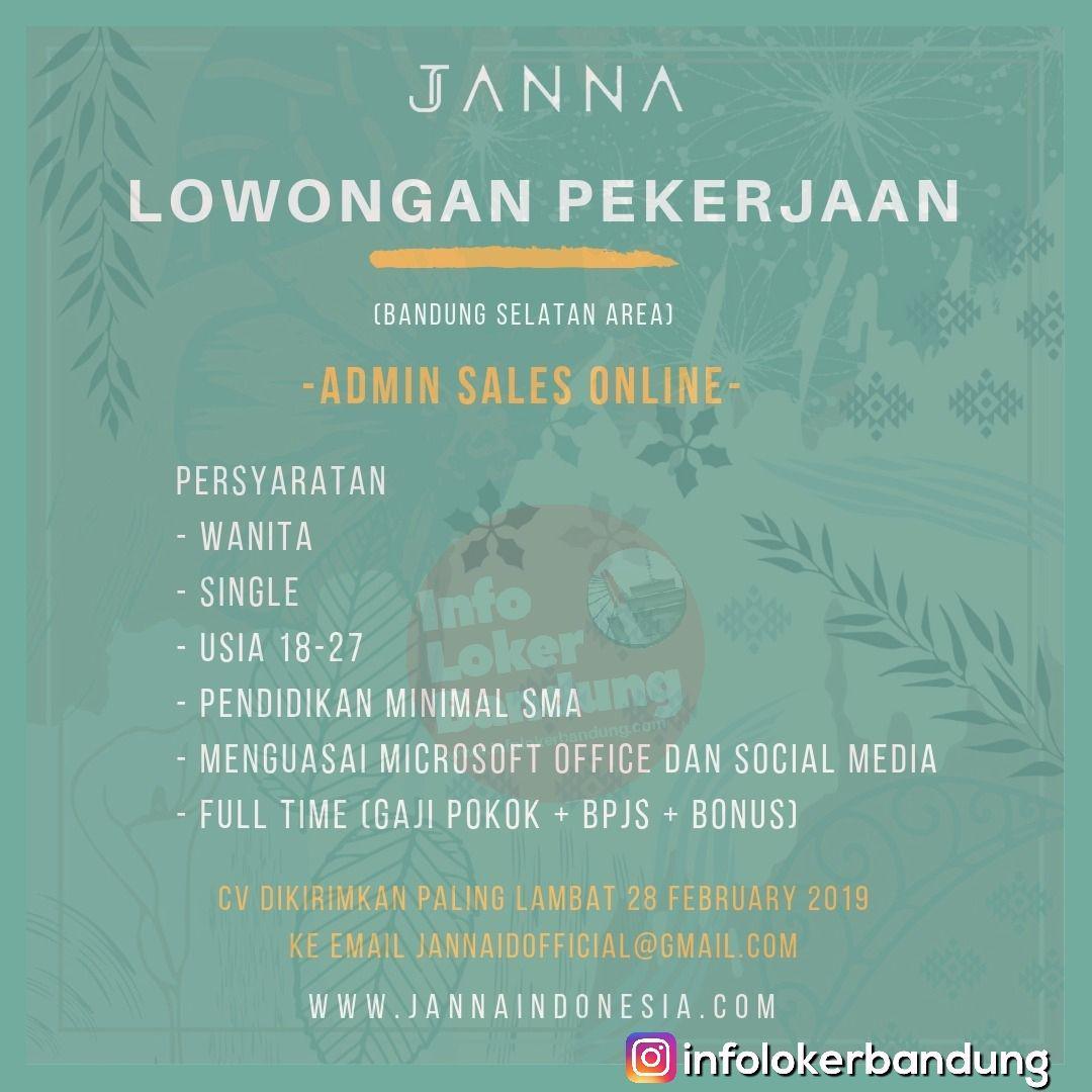Lowongan Kerja Admin Sales Online Janna Indonesia Bandung Februari 2019