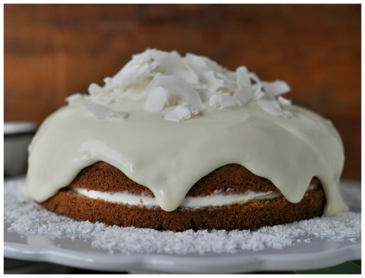 rich coconut-cake with cream cheese topping and white chocolate, gluten free