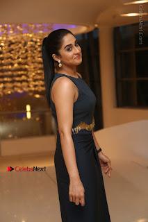 Actress Regina Candra Stills in Beautiful Blue Long Dress at Nagaram Success Meet  0011.JPG