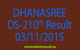 DHANASREE DS 210 Lottery Result 3-11-2015