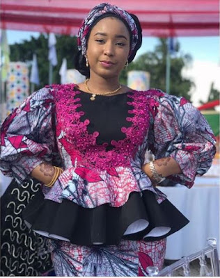 Peplum Ankara Blouse and Skirt Styles with Bishop Sleeves