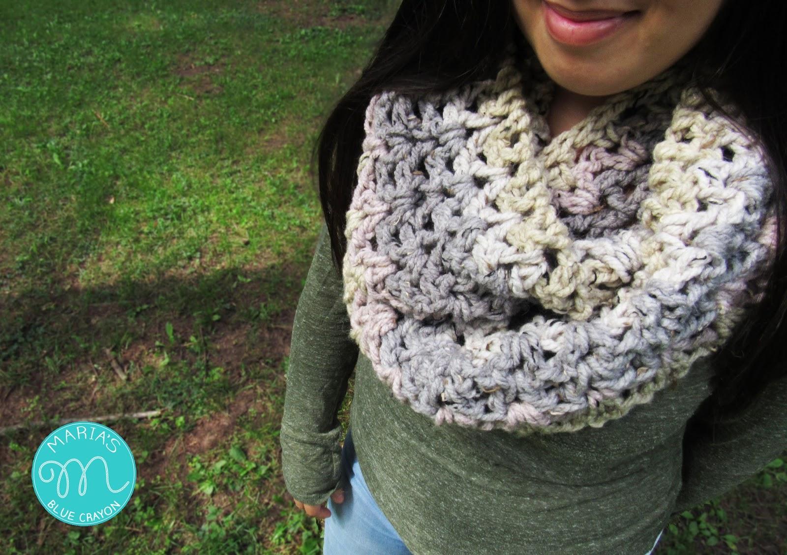 Crochet Infinity Scarf using One Caron Sprinkle Cake - Maria\'s Blue ...