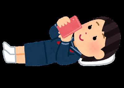 寝転がってスマホを使う人のイラスト(女子学生)