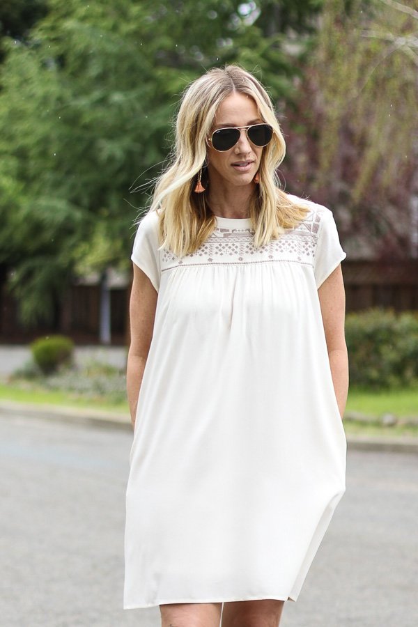parlor girl street style white shift dress with pockets
