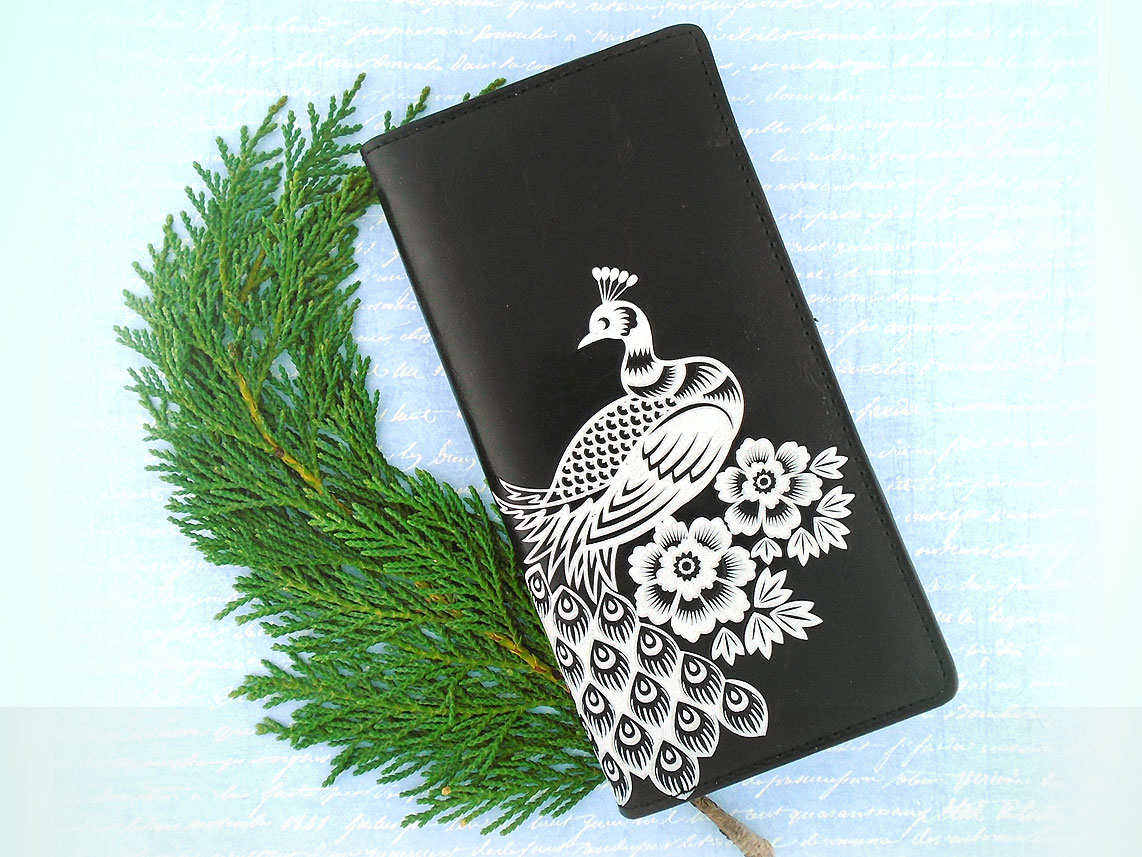 LAVISHY vegan leather embossed peacock large wallet in black and white