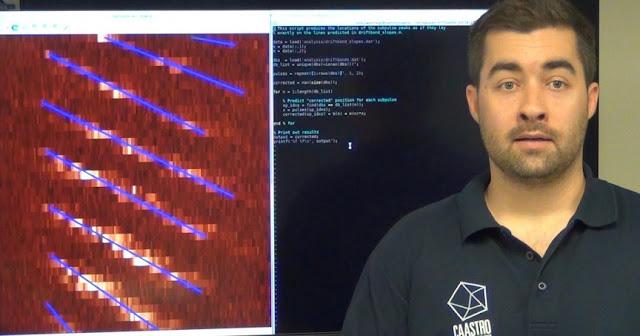 CAASTRO-Curtin student Sam McSweeney explains sub-pulse drifting. Credit: CAASTRO