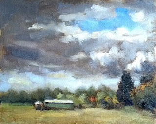 Oil paintings of dark clouds surrounding a small patch of blue sky with trees and buildings on a low horizon.
