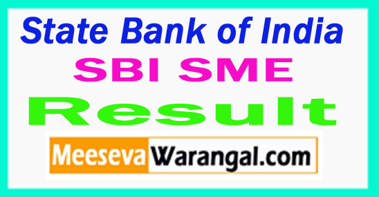 State Bank of India SBI SME Result 2017