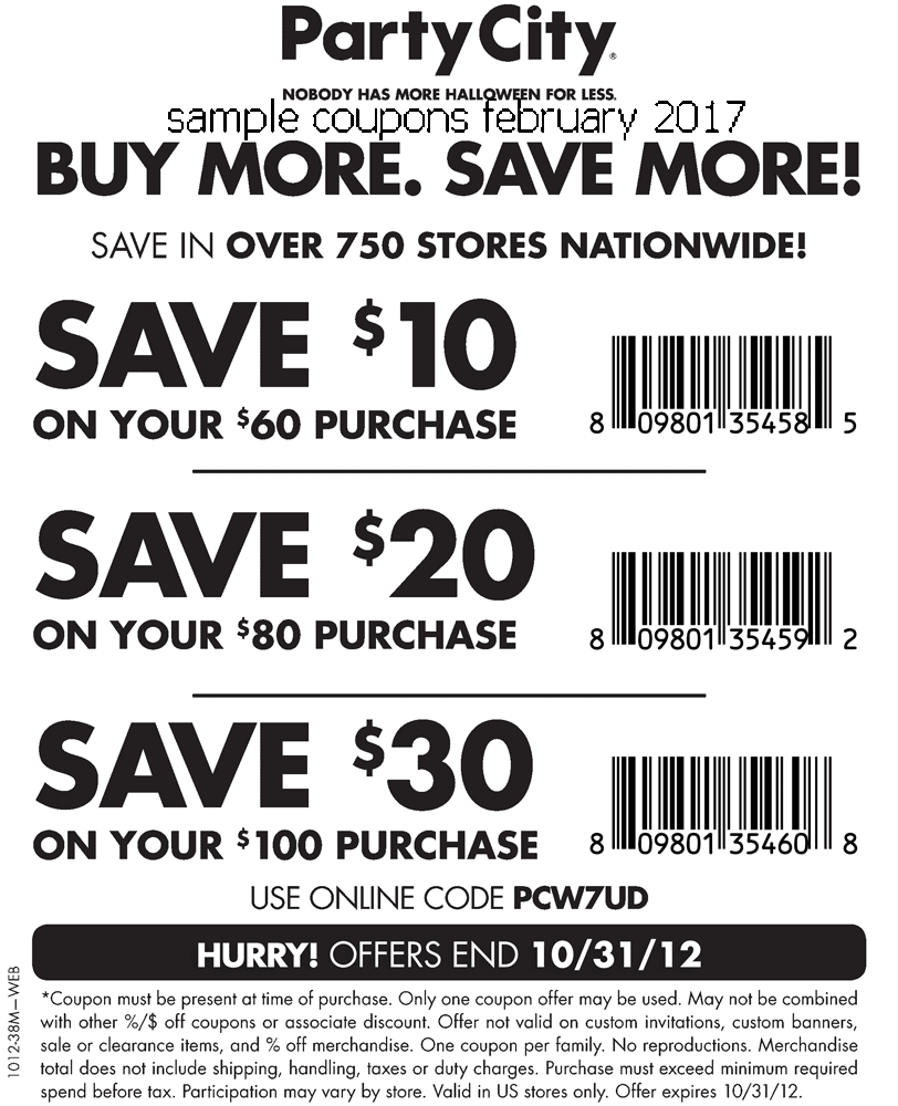 Coupon code for party city