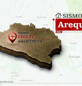 Temblor en Arequipa de 3.6 Grados (Hoy Domingo 19 Noviembre 2017) Sismo EPICENTRO Chivay - Caylloma - IGP - www.igp.gob.pe