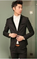 Men Long Sleeve V Neck Black Cotton Suit $39.22