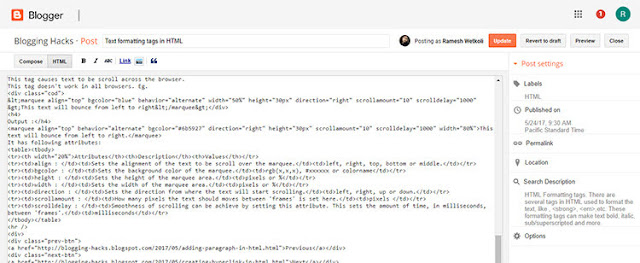 Blogger HTML View
