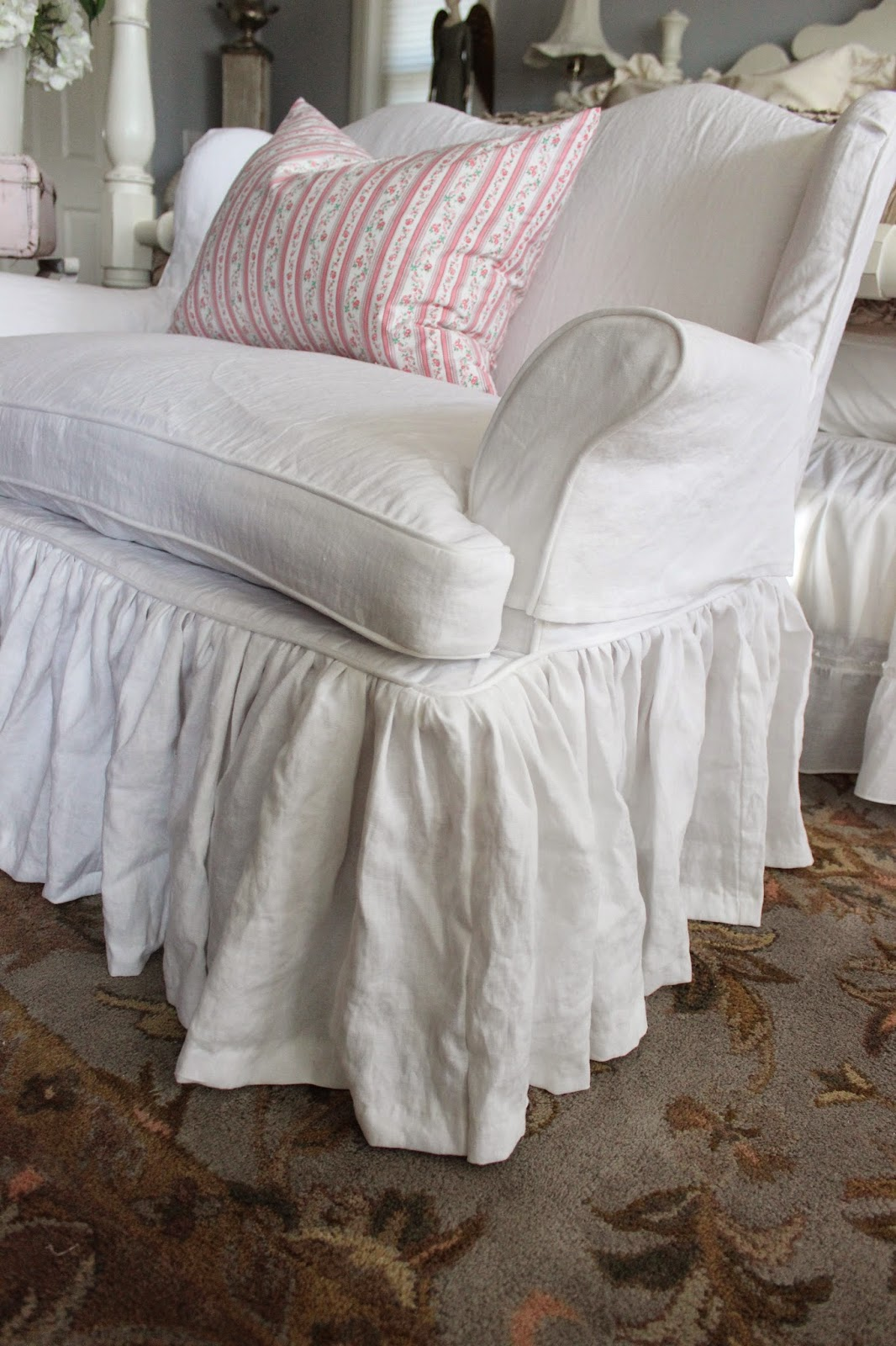 Custom Slipcovers By Shelley White Linen Chair And Settee
