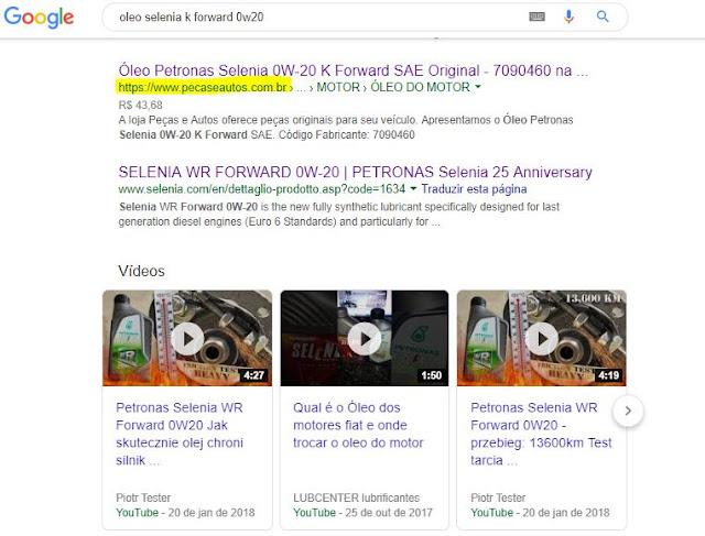 Exemplo de resultado de busca com ações de marketing digital para autopeças online