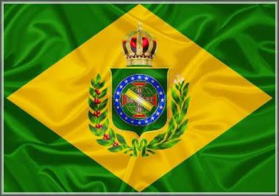 Foto da Bandeira Imperial do Brasil que vigorou entre 1822 e 1889