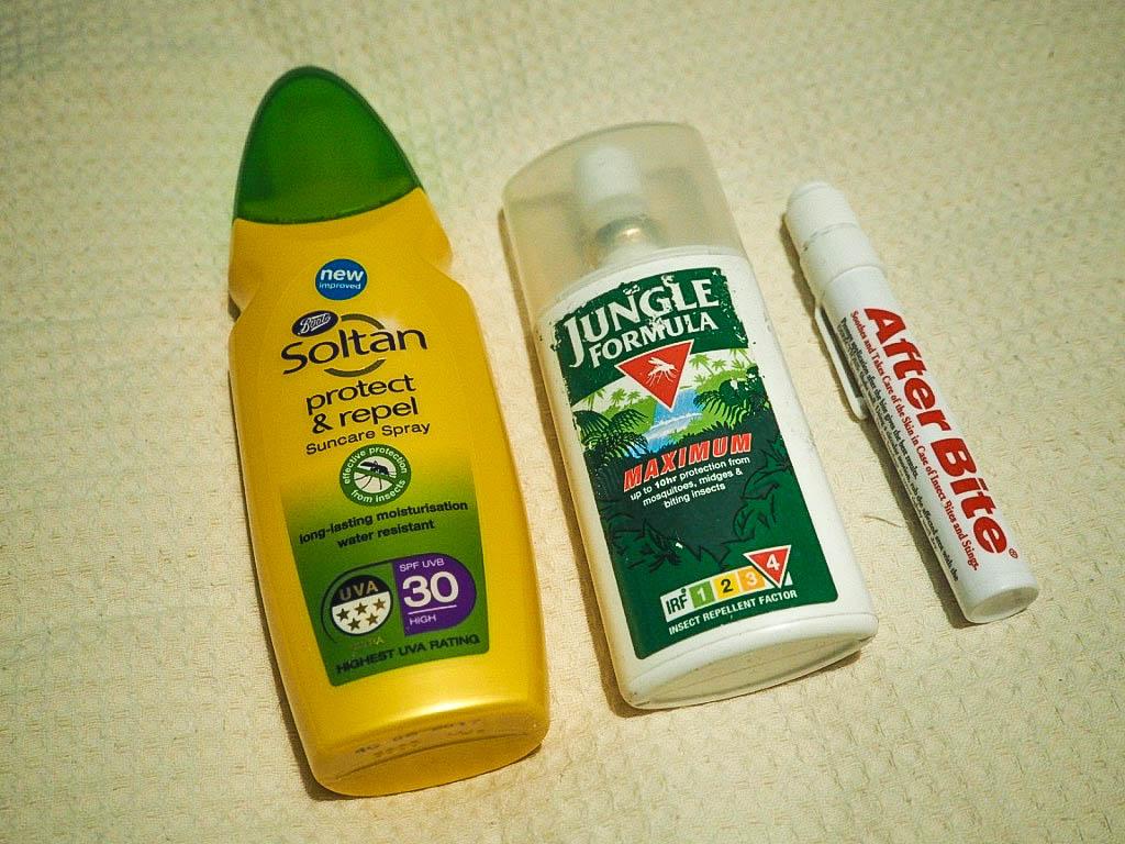 Sun cream, insect repellant, insect bite relief