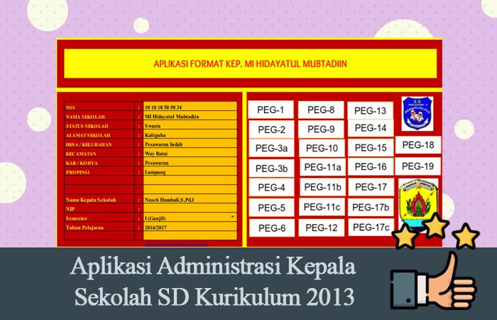Aplikasi Administrasi Kepala Sekolah SD Kurikulum 2013 Tahun 2017