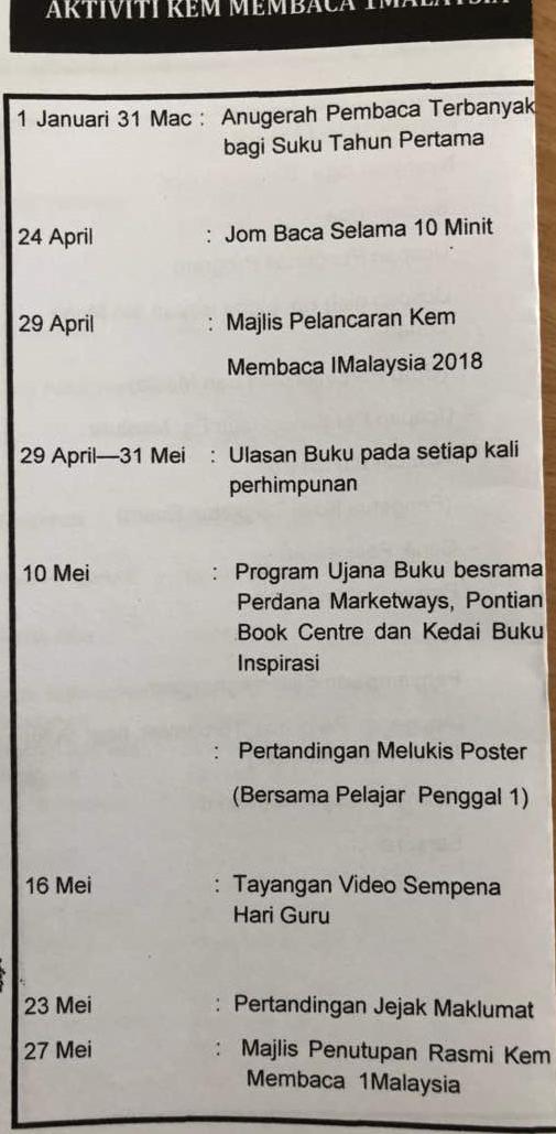 Pusat Sumber Kolej Tingkatan Enam Pontian Senarai Aktiviti Kem Membaca 1 Malaysia 2018
