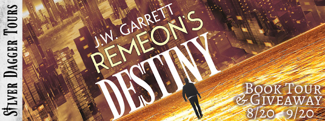 """Book Tour Banner for young adult fantasy Remeon's Destiny from the Realms of Chaos Series by J.W. Garrett with a Book Tour Giveaway """