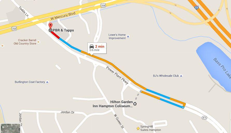 PBR Hampton Roads is 2 minutes from Hilton Garden Inn Hampton Coliseum Central, Hampton Virginia