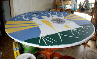 48 inch Dutch hex sign being painted