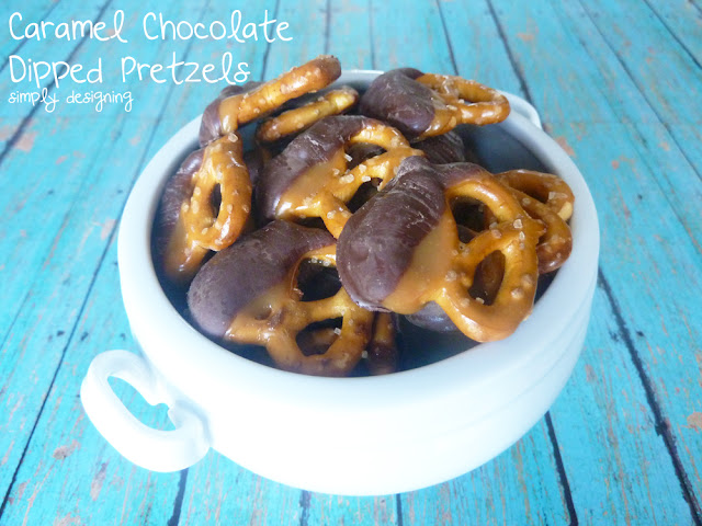 Caramel Chocolate Dipped Pretzels - a simple and delicious recipe for caramel and chocolate dipped pretzels @SimplyDesigning #recipe #tastytreats #chocolate #caramel