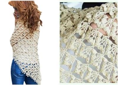 Chal a crochet triangular punto racimos de Viburnum
