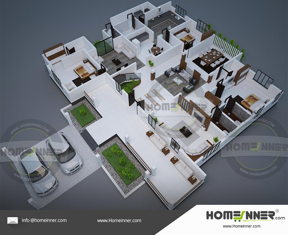 3D floor plan 4 Bedroom 5000 sq ft