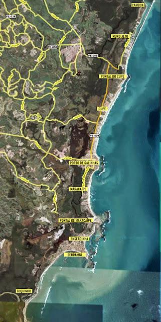 Mapa das praias de Porto de Galinhas