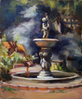 Oil painting of a fountain representing a putto holding a fish with other putti at the base.