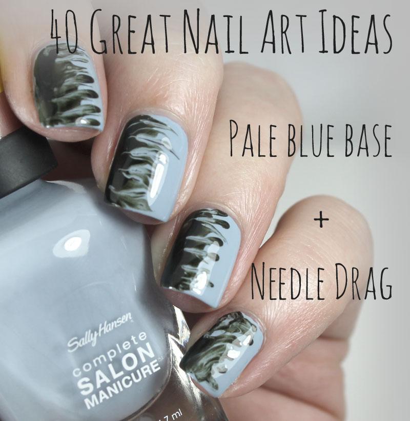 Bedlam Beauty: 40 Great Nail Art Ideas: Pale Blue Base + Needle Drag