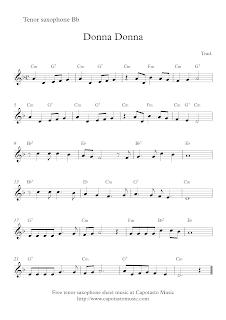 Donna Donna, tenor sax sheet music