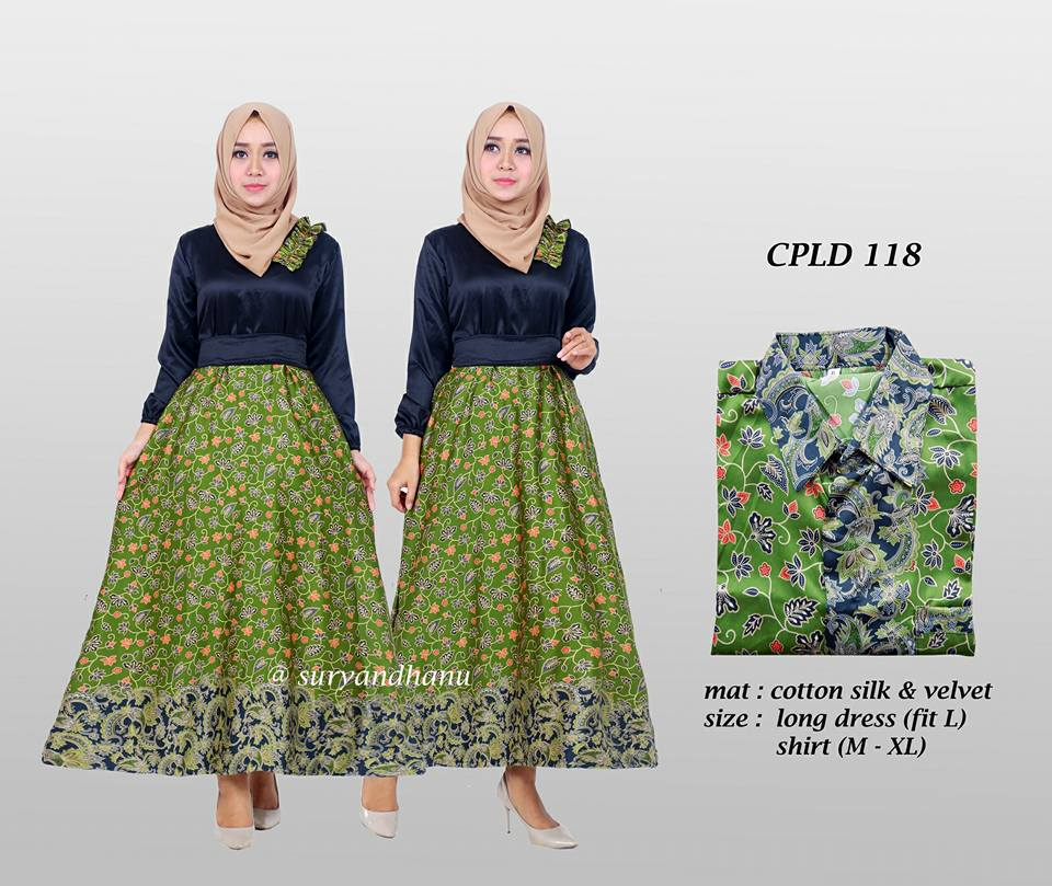 Baju Batik Couple Model Gamis Katun Silk Terbaru Cpld 118