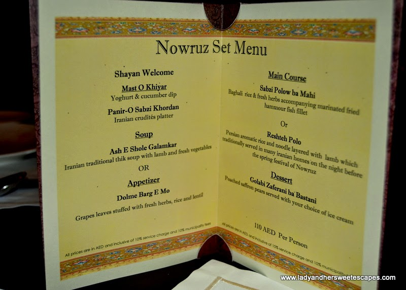 Nowruz Set Menu at Shayan restaurant