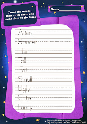 space aliens handwriting practice worksheet