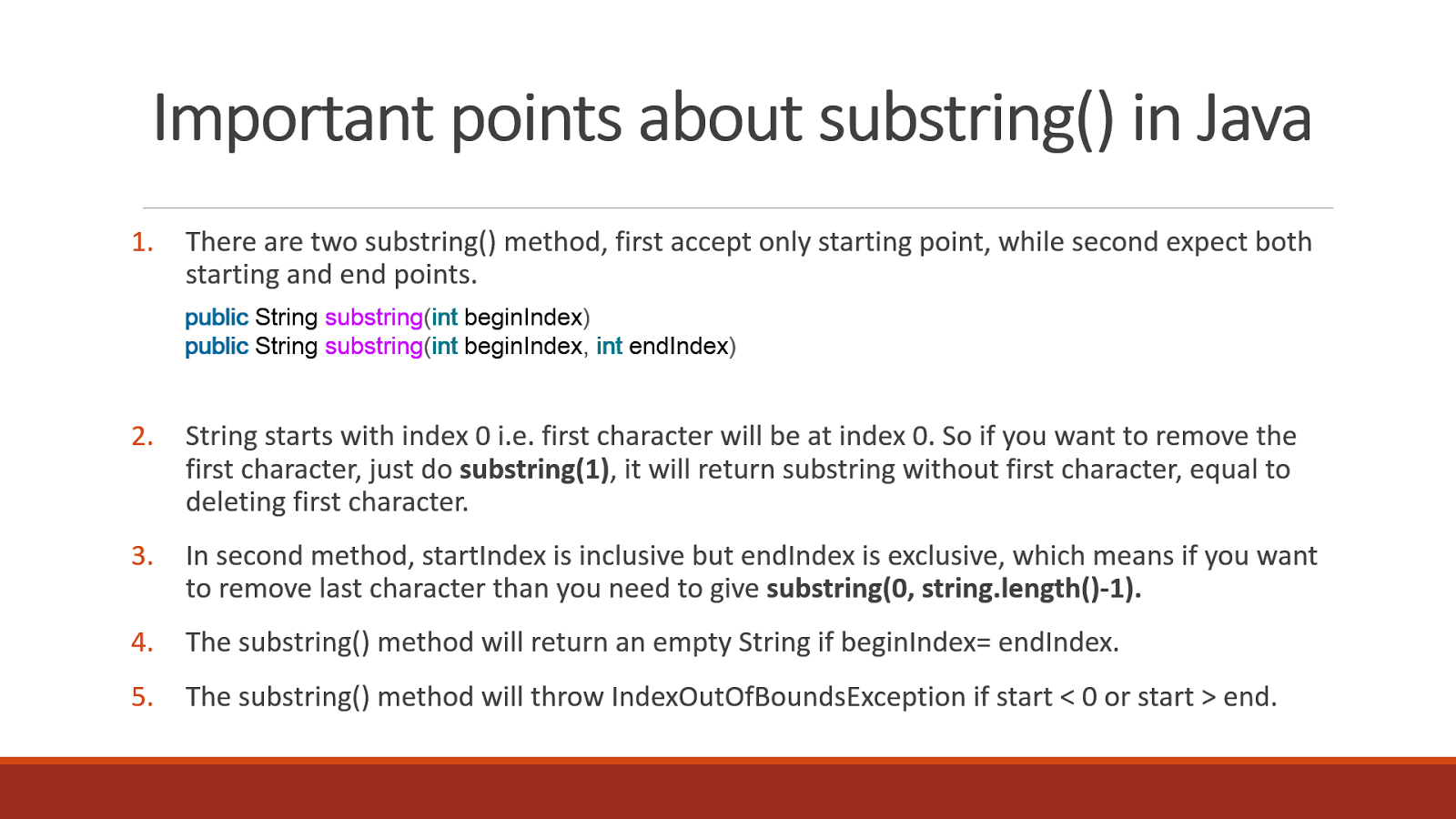 5 Examples of substring() in Java | Java67