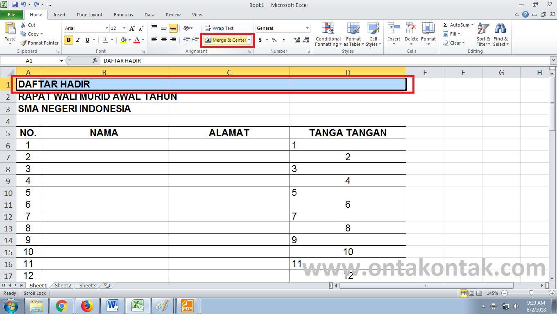 Cara Membuat Daftar Hadir Di Word Dan Excel