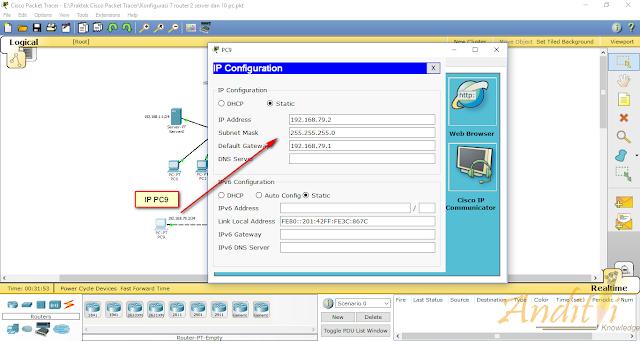 [Tutorial Cisco Packet Tracer 08] Final Konfigurasi Router dengan metode Routing Static dan DHCP server-anditii.web.id