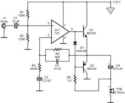 Circuitos Eletrônicos.: Amplificador fácil com CI 741