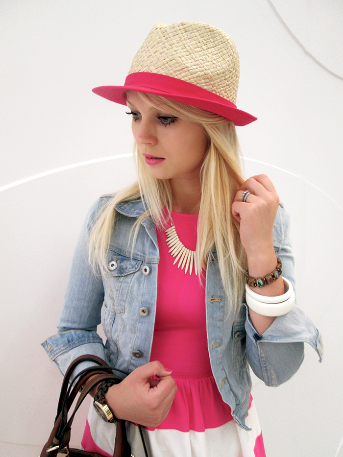 Jeans jacket, pink dress, hat