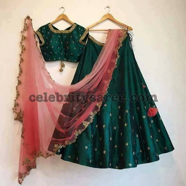 Bottle Green Half Saree