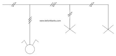gambar bagan Instalasi Pemasangan saklar Ganda dengan piting lampu sesuai dengan aturan PUIL