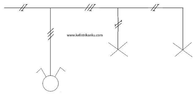 Diargam Instalasi Pemasangan saklar Ganda dengan Fitting lampu